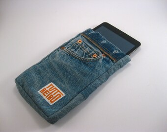 iPad mini case / Recycled Levis 501 Kindle sleeve / Tablet and reader case / Denim sleeve / Jeans bag / gift for her / gift for him