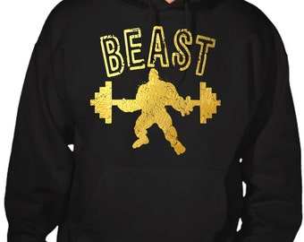 New Men's Reflective Gold Beast Hoodie All size S-5XL Black