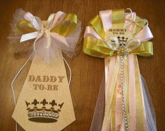 Baby shower mommy to be Princess corsage and daddy to be matching tie Pink and Gold