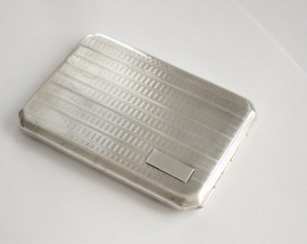 Antique 1930s Very Large European Solid Sterling Silver Cigarette Case Holder