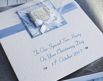 Handmade Boxed Christening Card for Boy - 'Elephant', Personalised for Son, Grandson, Godson, Nephew etc