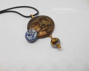 Sun and Moon brass & patina polymer clay pendant necklace charm resin one of a kind handmade