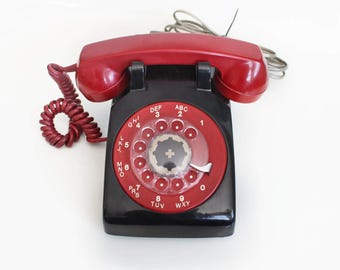 Two Tone red and black Classic Rotary Telephone.