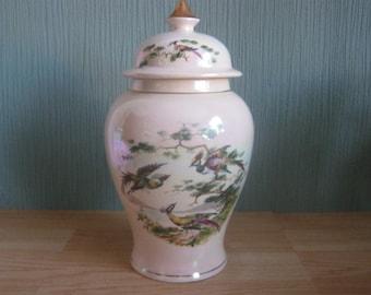 Sadler' Lustre Temple/ Ginger Jar with Exotic Bird Motif