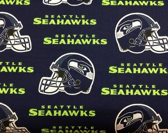 "SEATTLE SEAHAWKS nfl 60"" Cotton Fabric By The Yard All OverBlue Print Fabric Traditions"