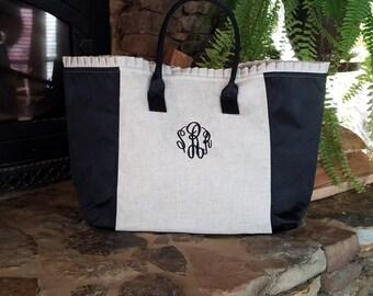 Monogrammed Weekender Tote Bag; Monogrammed Linen Bag; Monogrammed Overnight Bag