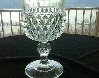 Vintage Mid century 1960's Indiana Glass Diamond Pointe-clear Pressed Glass Water/Wine Goblet