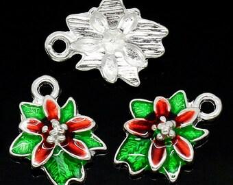 Enamel Charms Silver Christmas Flower Charms Pendants