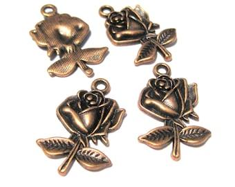 10pcs Antique Copper Rose Charms Pendants 26mm
