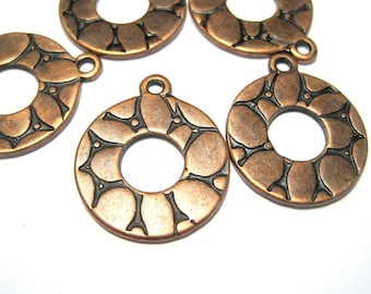 10pcs Antique Copper Round Charms Pendants 23x19mm
