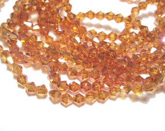 1 Strand Electroplate Orange AB Bicone Glass Beads 4mm