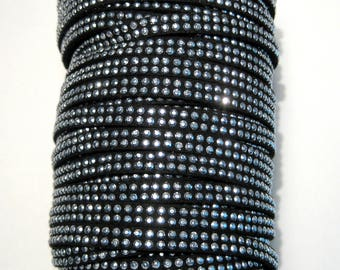 10ft Black Faux Suede Studded Cord 5x2mm