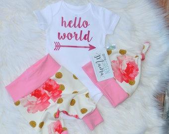 Hello world newborn outfit, newborn outfit, newborn girl coming home outfit, take home outfit girl, baby girl, take home outfit, hello world