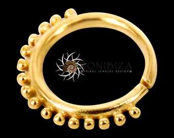 Gold Nose Ring - Gold Nose Hoop - Indian Nose Ring - Tribal Nose Ring - Nose Jewelry - Nose Piercing - Nostril Ring - Nostril Jewelry NL12GP