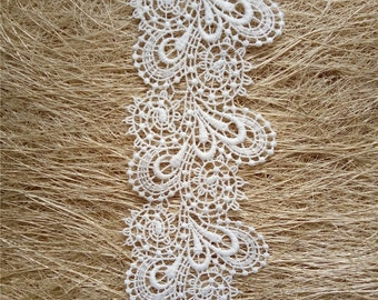 "Wedding lace trim , bridal lace trim, white lace trim, Venice lace,   2-1/2"" , white lace trim, Venice needle lace ,by the yard, HDDR06"