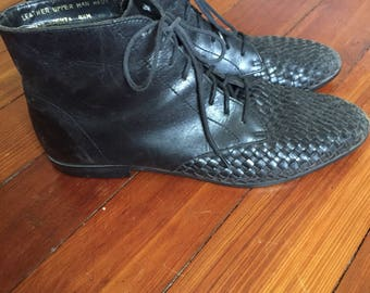 Black Woven Leather Ankle Boots
