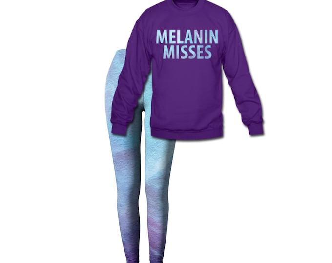 Melanin Misses Women's Crew Neck Sweatshirt/Leggings Combo Set - Purple
