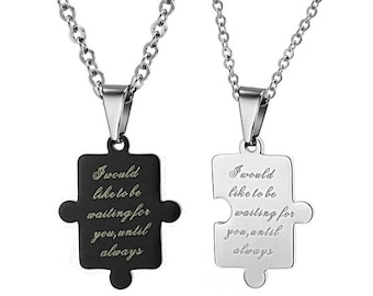 Waiting For You - Couples Necklaces / Personalized Gifts for Him / Girlfriend and Boyfriend Necklaces / Matching Jewelry for Couples