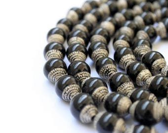 Two Black Onyx Beads - Tibetan Beads with Brass Caps - Small Beads - Jewelry Making - Jewelry Supplies - Handmade Beads - Silver Toned Caps