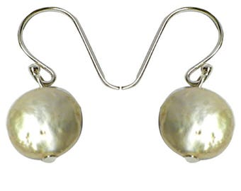 Pearl Earrings 925 sterling silver Pearl Earrings white shimmering around lens (No. OPR-56)
