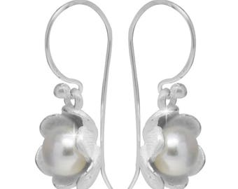 Flower Cup six-leaved beads earrings 925 sterling silver pearl earrings (No. OPR-64)