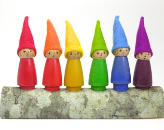 Individual Gnome-choose from 6  colors, rainbow gnome, wooden gnome toy, handmade kids toy,