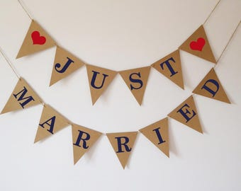 Just married bunting, wedding bunting, wedding photo prop, navy, red
