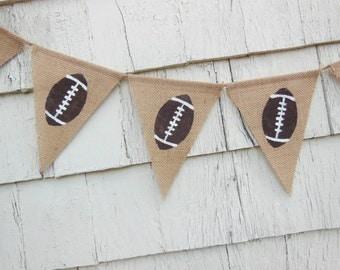 Ready to Ship, Football Birthday Party, Superbowl Decorations, Superbowl Party, Football Banner, Football, Football Garland, Burlap Banner
