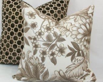 Brown & cream decorative throw pillow cover 18x18 20x10 throw pillow cover. Lacefield pillow Brown floral pillow Brown white pillow