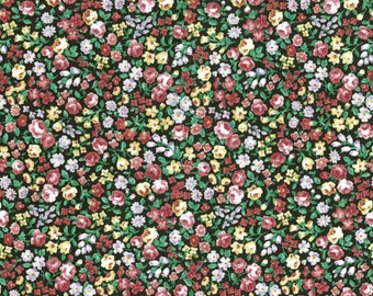 Packed Flowers Dark Green by Lecien (5101-60) Cotton Fabric Yardage
