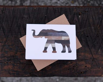 Rustic Elephant Folded Note Cards