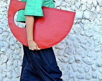 Red Genuine Leather Bag / Red Extravagant Tote / Extravagant Handbag / Red Funky Bag TLB12 / URBAN MUSE