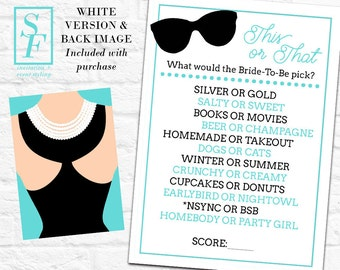 Breakfast at Tiffany's Printable Shower Game