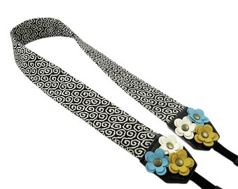 DSLR Camera Strap. Floral Camera Strap. Cute Camera Strap - Black and White Fabric With Leather Flowers