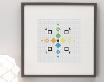 Geometric Squares Pattern Colourful Cross Stitch Pattern