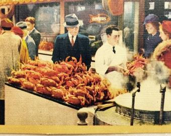 Vintage Ca Postcard Crab Pots on Fisherman 's Wharf San Francisco California 1944 Linen