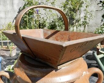 Antique French Chateau de Virelade Basket. Vintage Flower / Grape Wood Trug. Gardening Basket. Vintage French Wooden Wine Trug. Home Decor.
