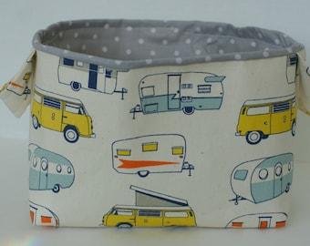 Fabric bin, fabric basket, glamping, camping, campers, easter basket, storage basket, toy storage, gift basket, baby shower gift