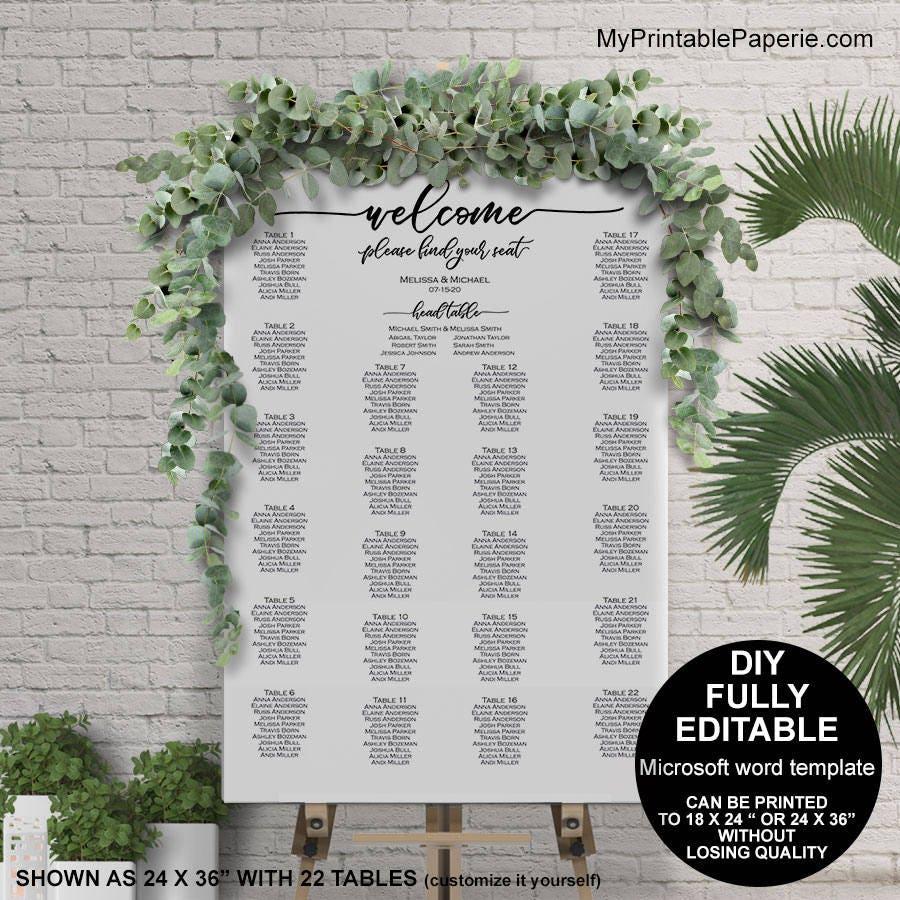 Seating chart wedding template, wedding seating chart poster ...
