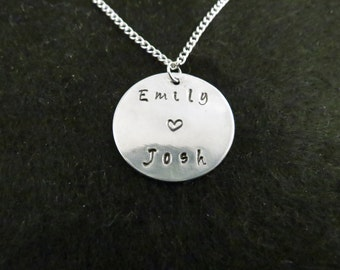 Hand stamped names and heart on a chain (straight style)