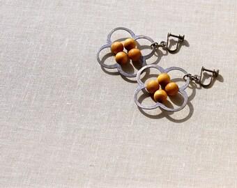 Danish Modern Style Earrings. Sculptural Design, Modest Materials. 1960s.