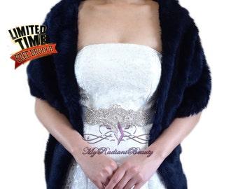 "Faux Fur Stole, Navy Blue Faux Fur Wrap, Faux Fur Shrug, Bridal Fur Shrug, Wedding Fur Shawl, Bridal Fur Wrap, Fur Stole 62"", LW108-NBlue"