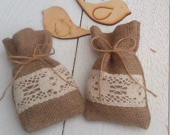 Burlap Favor Bag - Burlap Wedding Favour Bag- Rustic Favor Bag - Rustic Wedding Favor - Favor Bag - Gift Bag - Rustic Wedding - Set of 25