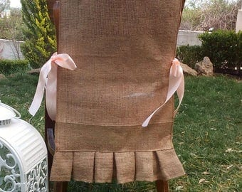 Burlap Chair Sash - Ruffled Chair Swag - Burlap Chair Cover - Burlap Chair Tie - Wedding Chair Sash - Rustic Wedding Chair Sash - Set of 6