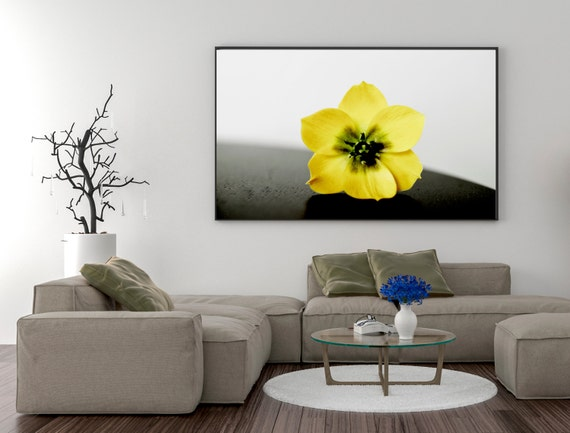 Yellow and gray print jerusalem flower living room wall art Yellow wall living room decor