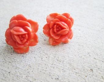 Vintage Coral Orange Celluloid Carved Rose Flower Earrings