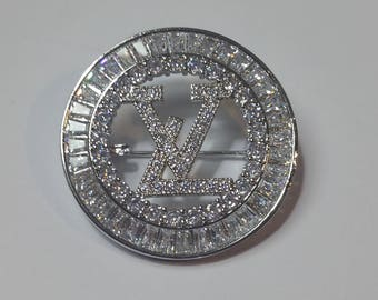 Fashion Diamond Rhinestones Louis Vuitton LV Inspired Brooch Pin Silver Gift