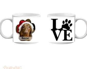 Pet LOVE Mug, Photo Paw Print Photo Pet Mug with LOVE text