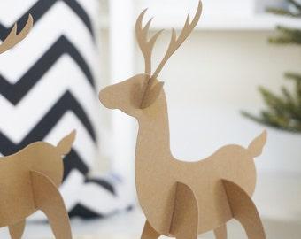 WHAT THE BUCK?! Paper Deer - Set of 12 - Deer Decoration - Deer Baby Shower - Lumberjack First Birthday