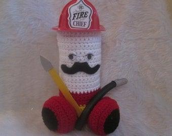 PENIS FIREMAN, penis plush, gag gift penis, retired fireman, bachelorette, man cave decor, joke for fireman, crochet penis, gay fireman